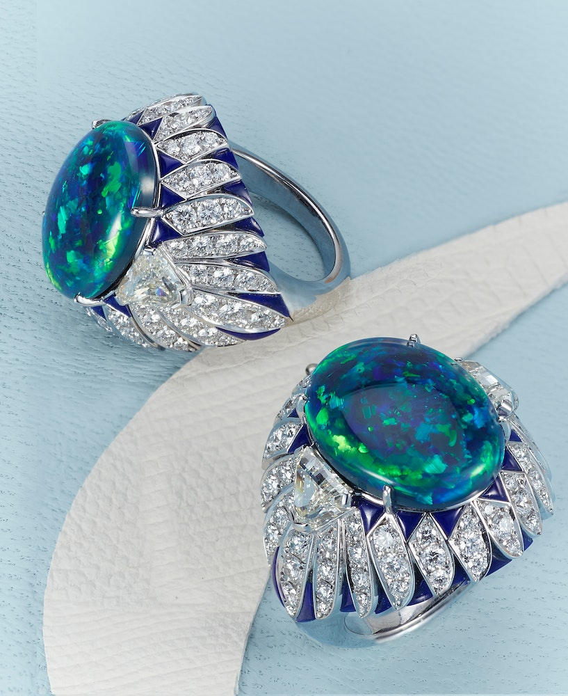 David Morris Aura ring crafted with 10ct Australian black opal 3ct triangle and round cut white diamonds and 3ct blue lapis set in 18ct white gold LS