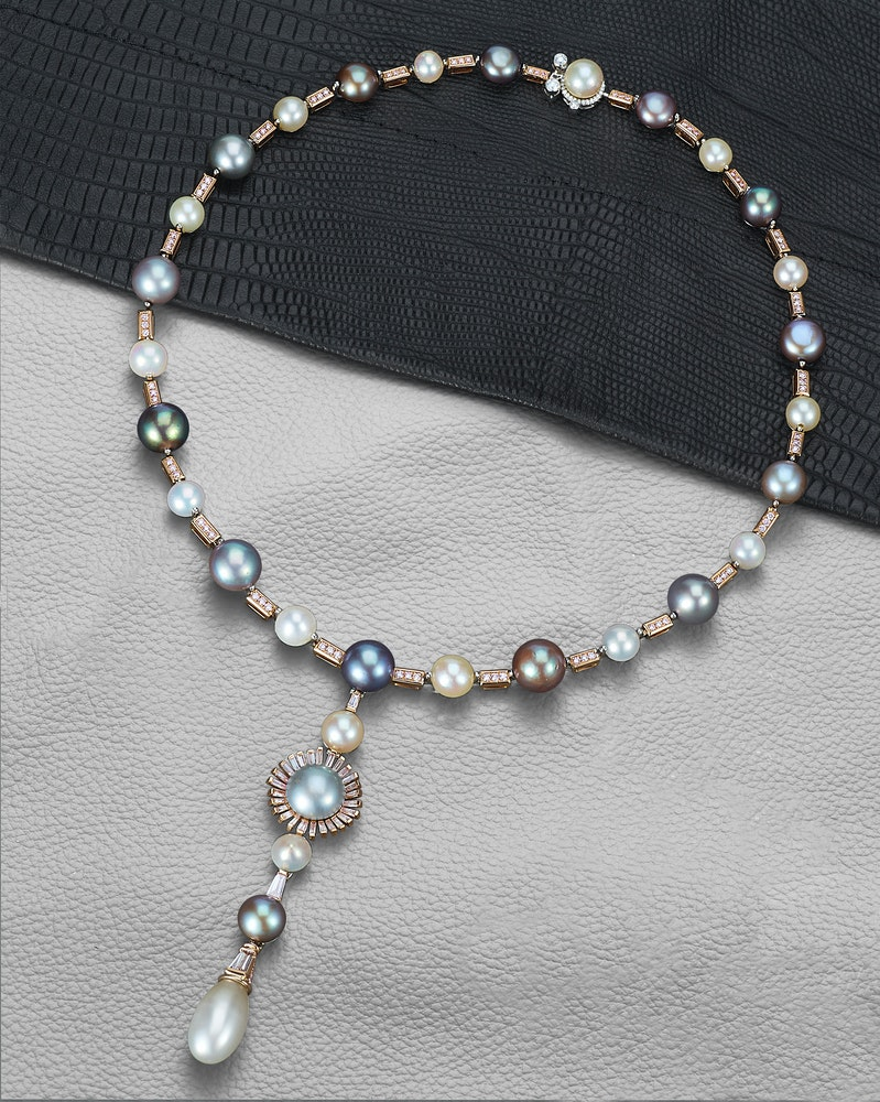 David Morris Two Seas necklace with 71ct natural black pearls 46ct natural white pearls 1 5ct natural coloured pearls 2ct pink diamonds and 0 5ct white diamonds
