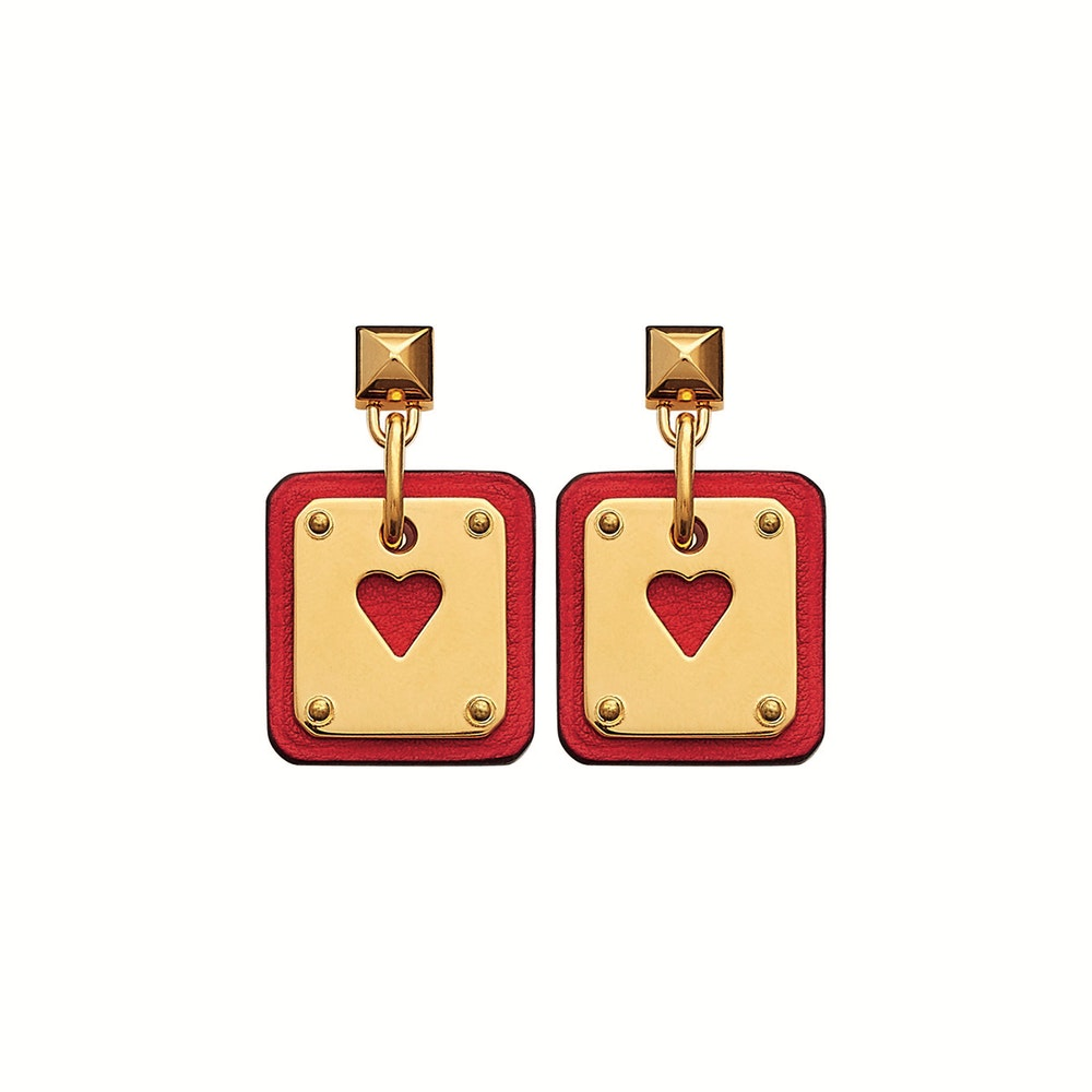 Earrings in Swift calfskin and gold metal SS21 Objets Hermes Studio des Fleurs