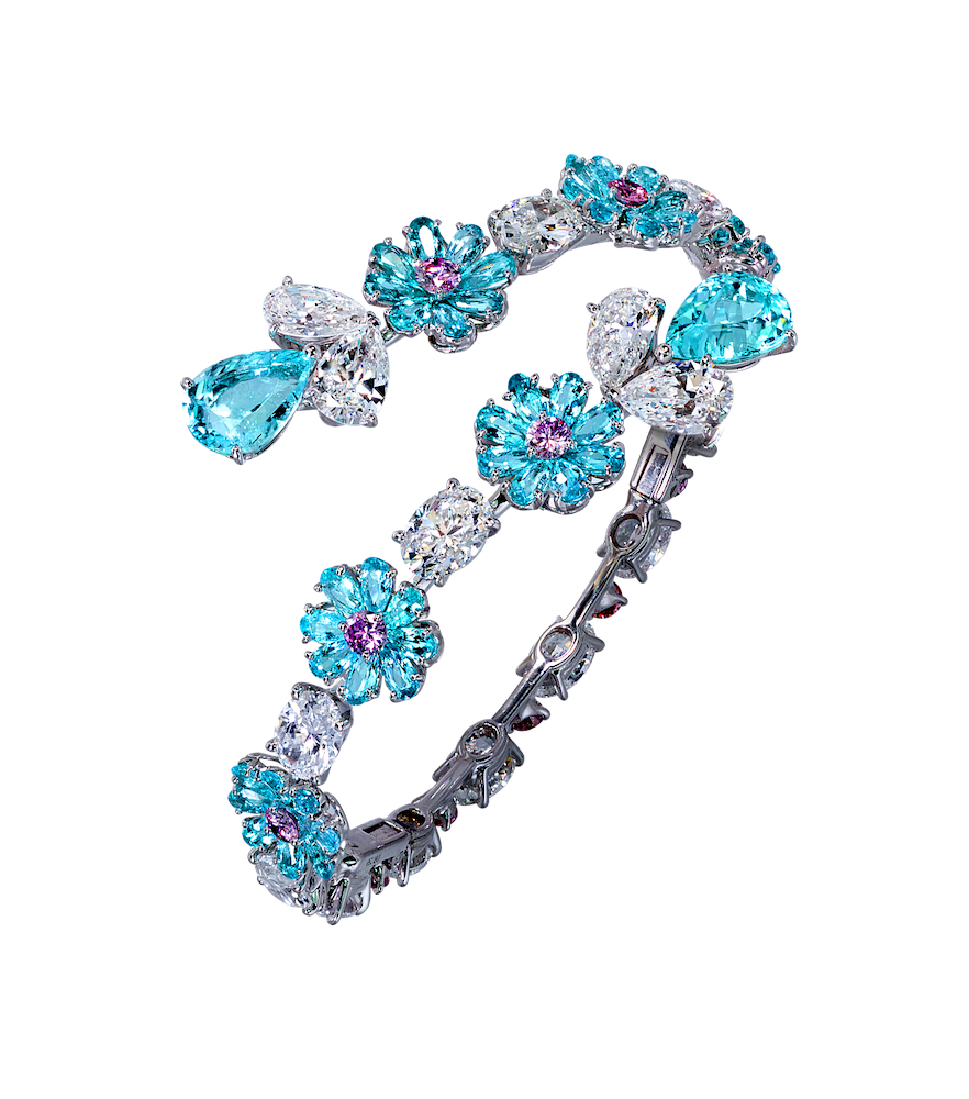 High Jewellery bangle with 10 09cts of Paraiba tourmaline 13 59cts diamonds and 1 96cts of pink diamonds