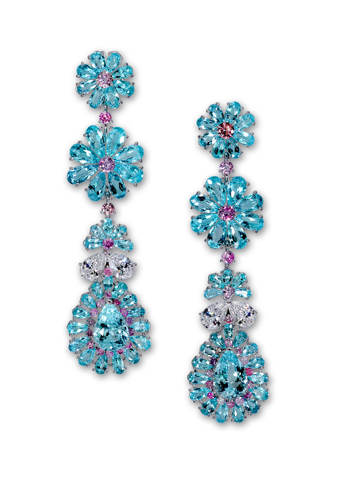 High Jewellery earrings with 16 22cts of Paraiba tourmaline 1 74cts of pink diamonds and 2 10cts of white diamonds