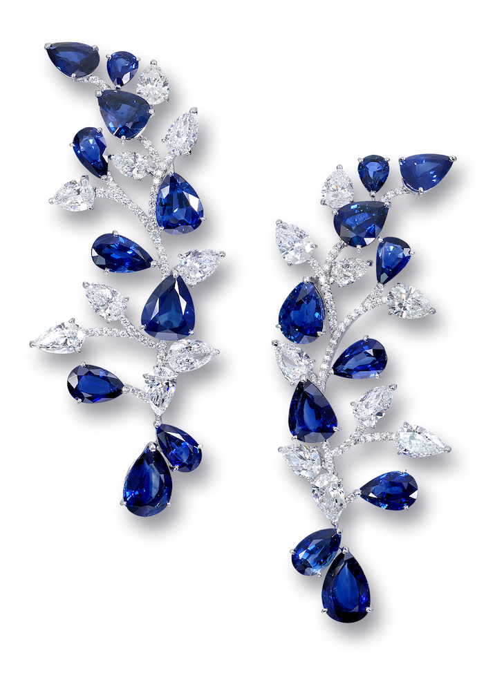 High Jewellery earrings with 80 15 cts of sapphires and 1 34cts of diamonds
