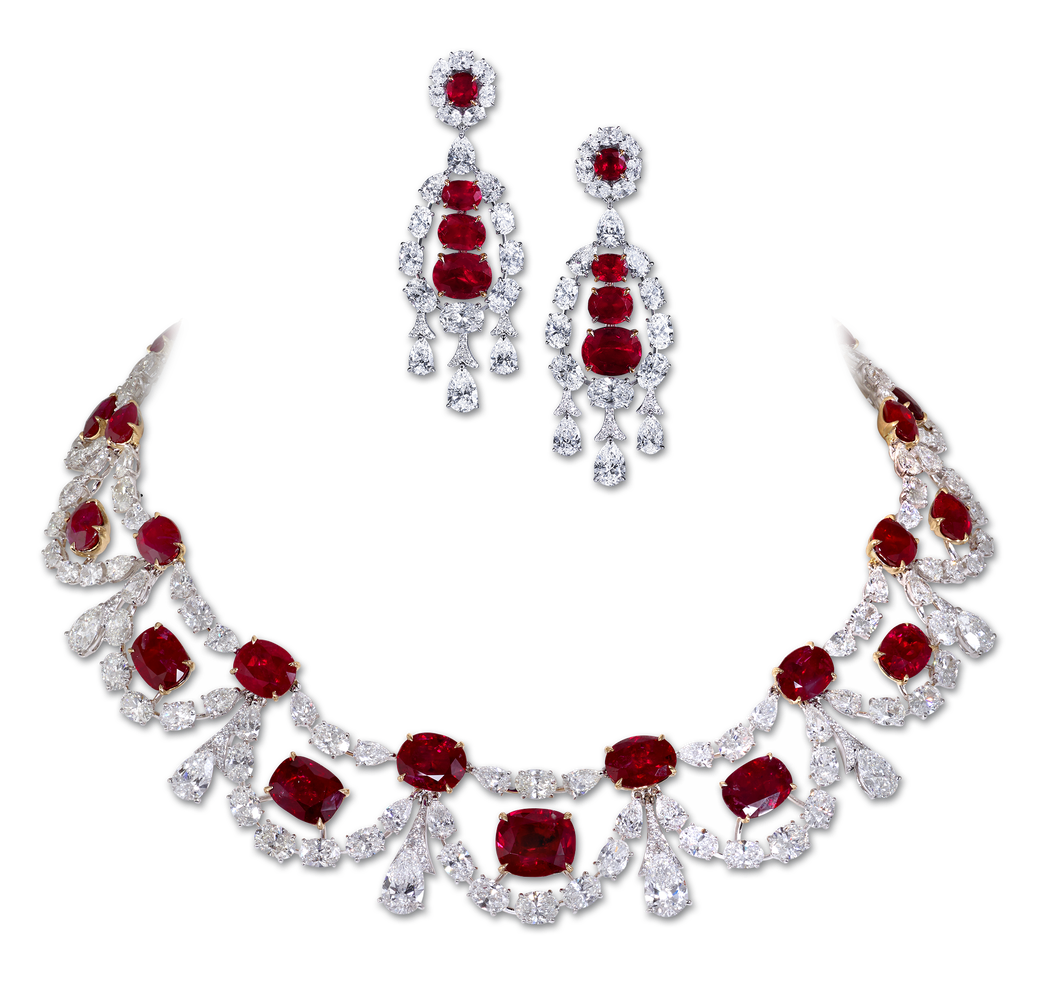 High Jewllery necklace with 77 06cts of Burma rubies and 60 77cts of diamonds High Jewellery earrings with 12 61cts of Burma rubies and 14 29cts of diamonds