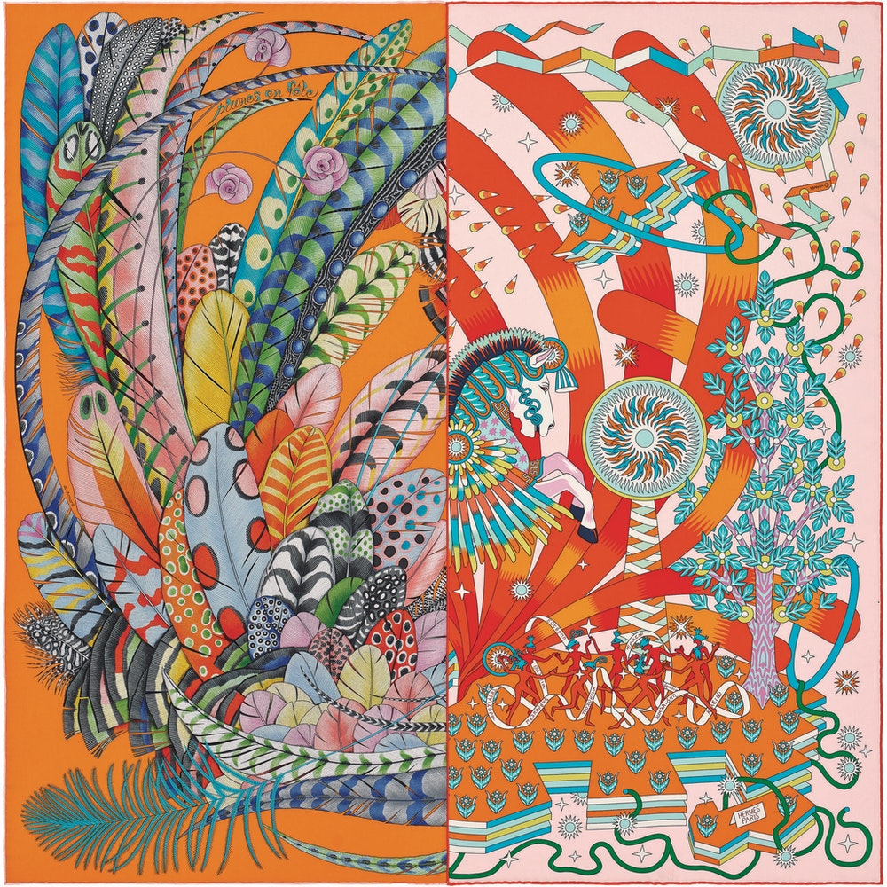 Rencontre heureuse scarf 90 cm in silk twill SS21 Objets Hermes Studio des Fleurs