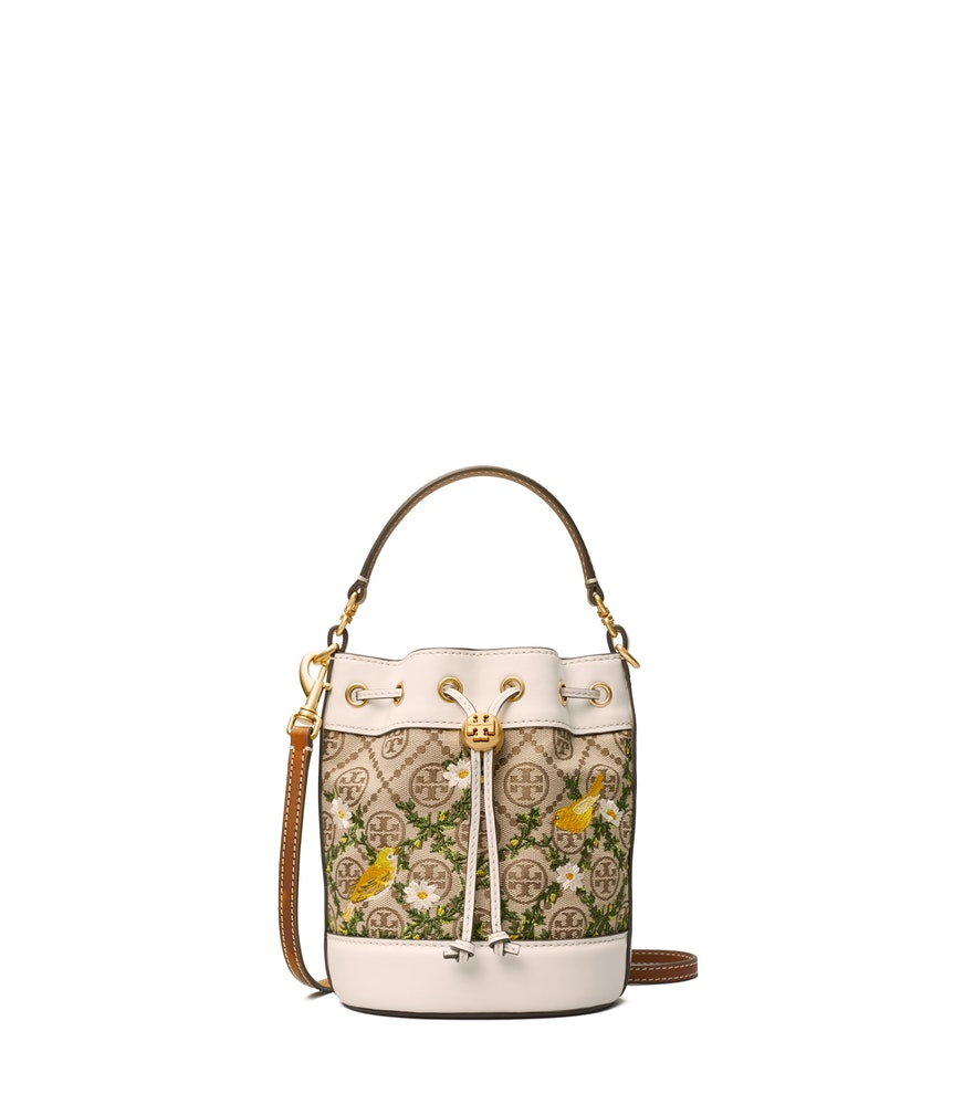 TB T Monogram Jacquard Embroidered Mini Bucket Bag 80995 in Hazel Gardenia